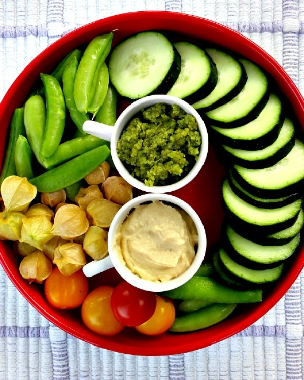 Snack Platter with Hummus and Ramp Pesto