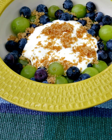 Blueberries & Grapes with Sour Cream and Brown Sugar