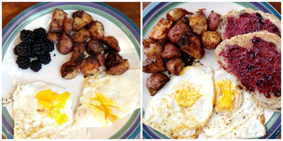 Fried Egg, Potatoes & Blackberry Collage