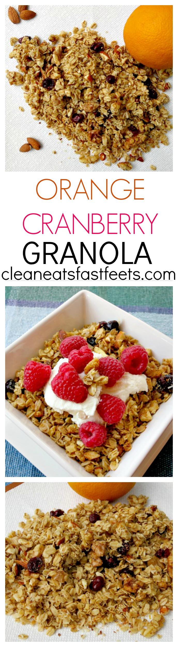 Orange Cranberry Granola. A sweet granola with a burst of citrus flavor.