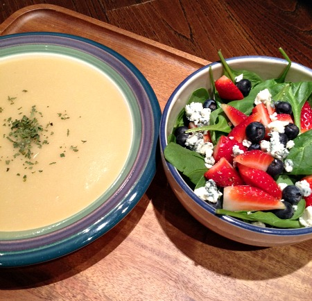 Potato Soup & Spinach Salad