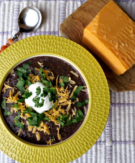 Black Bean Corn Soup with Cheddar, Cilantro and Sour Cream
