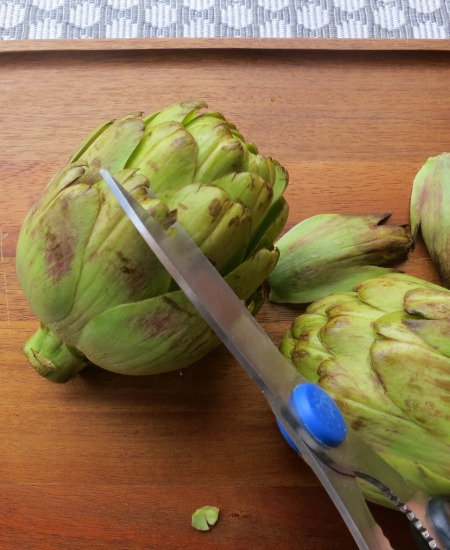Artichokes Snipping the Tip