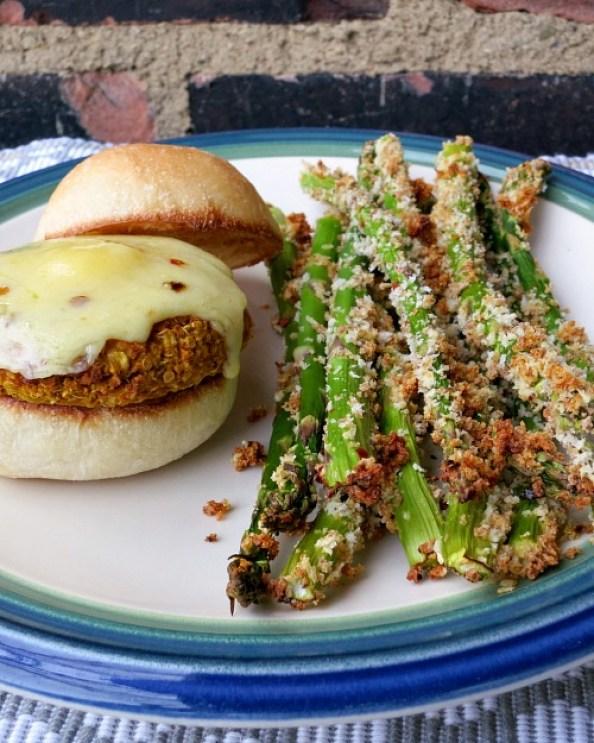 Pumpkin Burger & Asparagus Fries