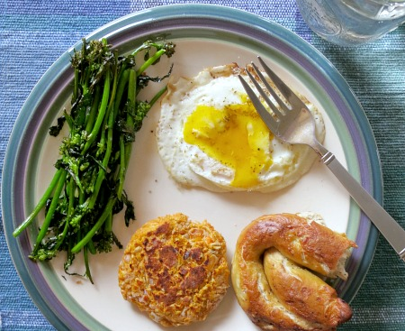 Kale Tips, Fried Egg, Veggie Burger and Everything Pretzel
