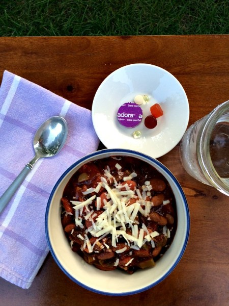 Chili, Brown Rice, Cheese and Vitamins