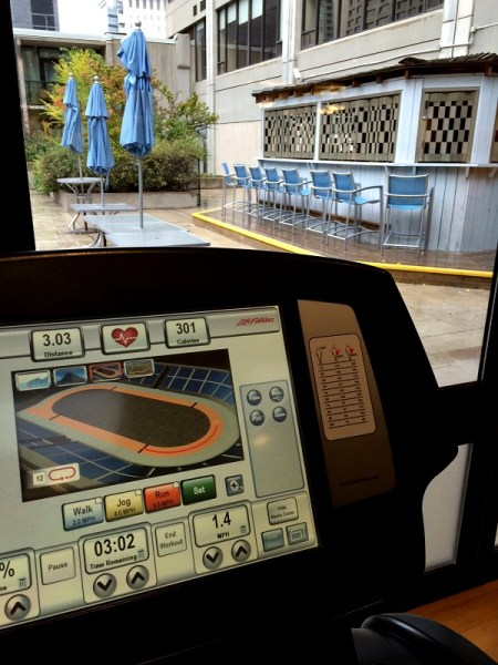 Work Out Overlooking a Bar