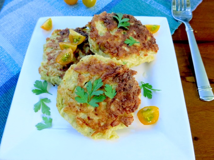 These delicious, savory fritters are perfect for a quick and easy meat free meal or as a veggie side dish. Chock full of kohlrabi, it's a great way to sneak in extra greens!