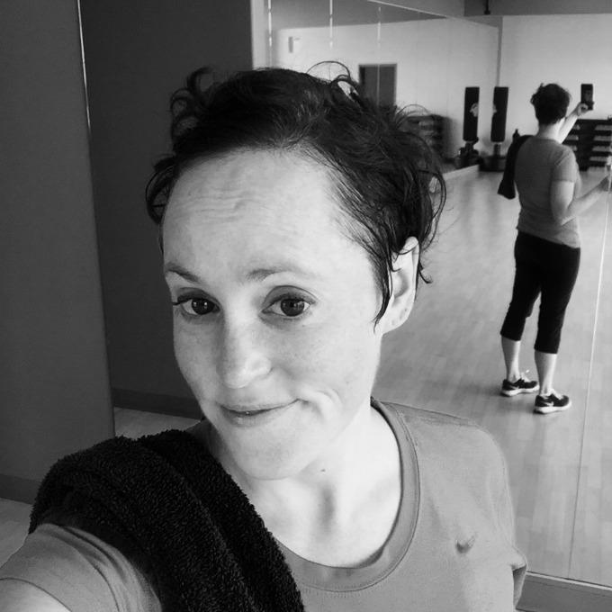 Meg Sweaty Gym Selfie