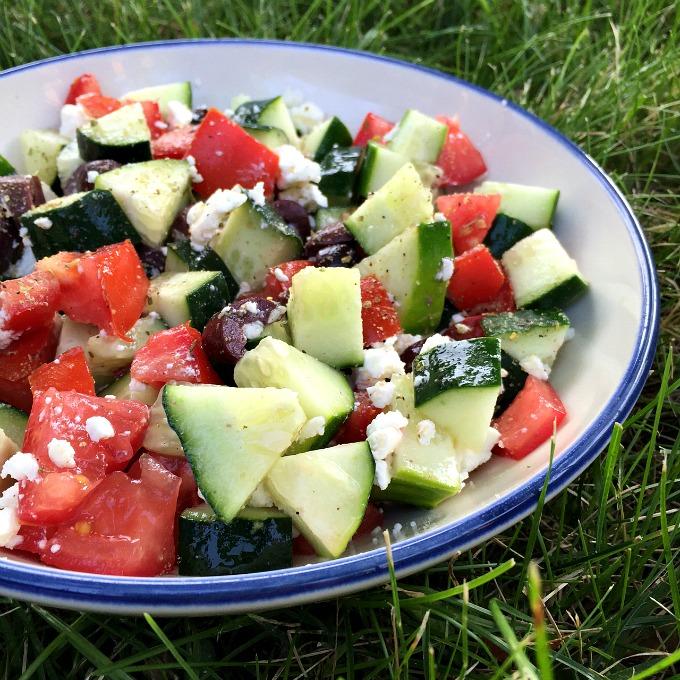 Cucumber, Tomato, Olive and Feta Salad