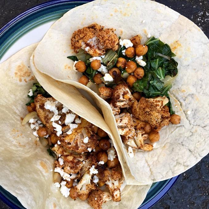 Roasted Cauliflower, Chickpea, and Bok Choy Tacos