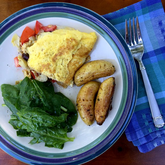 Greek Omelet, Fingerling Potatoes and Spinach