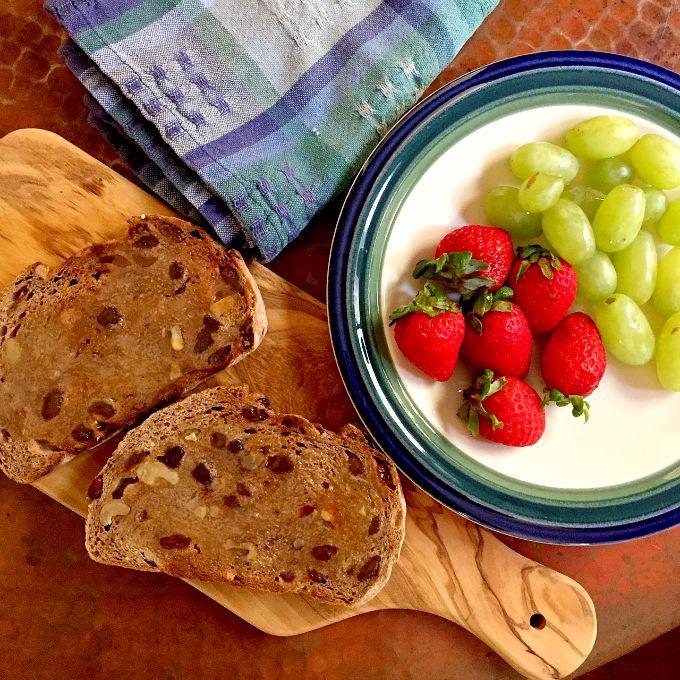 Cinnamon Raisin Walnut Bread, Strawberries and Grapes