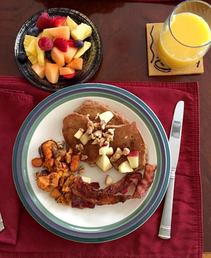 Apple Pie Pancakes, Parmesan Sweet Potatoes, Bacon and Fruit - Breakfast