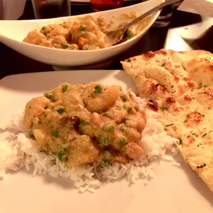 Navaratna Korma Vegetable Stew in Coconut Sauce White Rice and Garlic Naan