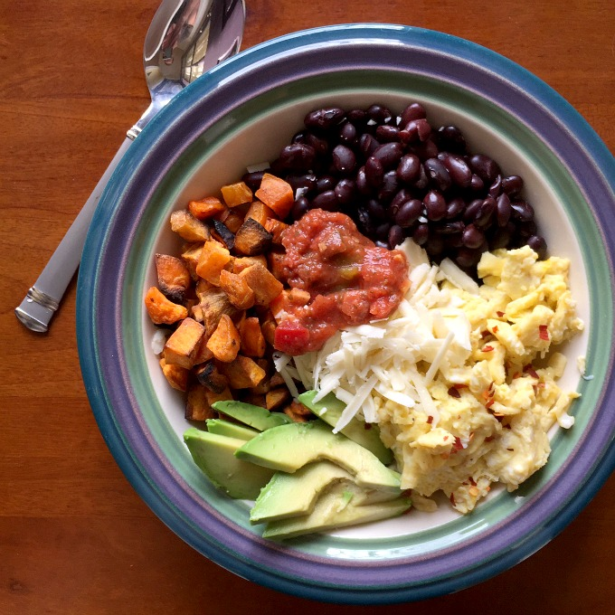 Breakfast Bowl with Eggs, Beans, Sweet Potatoes, Avocado, Salsa and Cheese