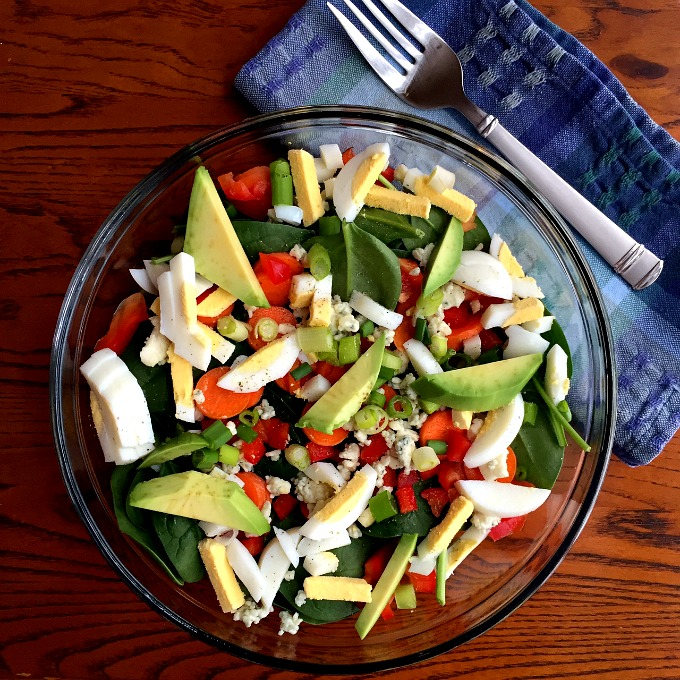 WIAW Lunch Salad with Hardboiled Eggs, Avocado, Carrots, Peppers, Onions and Blue Cheese