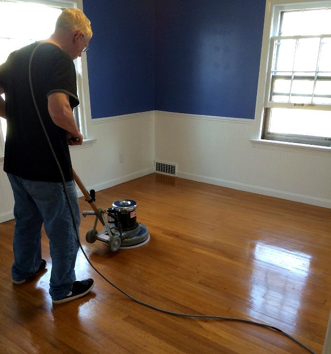 Ed Buffing Hardwood Floors