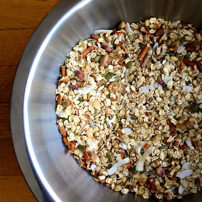 Sweet, salty, crispy, crunchy, chewy, this Trail Mix Granola will make your taste buds dance and your mouth sing.