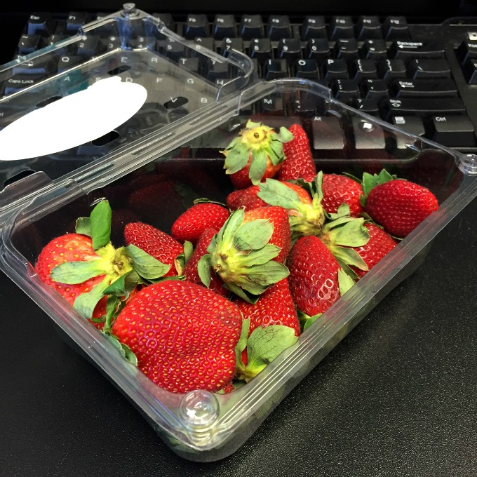 Unwashed Strawberries at the Office
