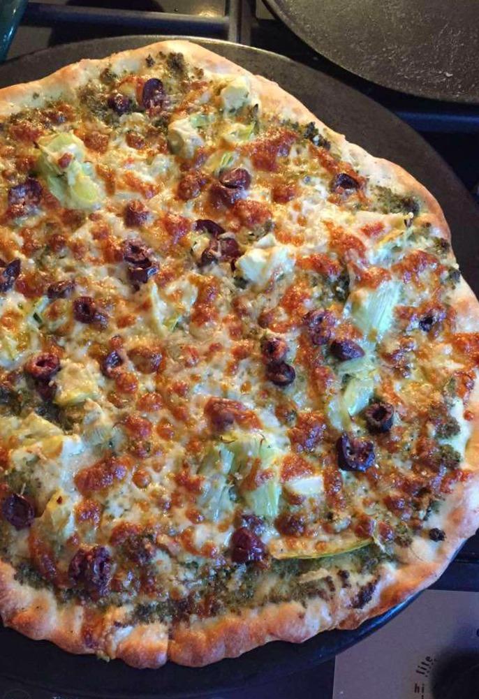 Pesto Pizza with Artichokes and Kalamata Olives