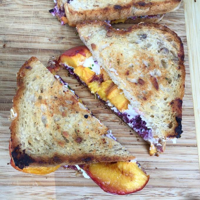 Blackberry Peach Grilled Goat Cheese Sandwich
