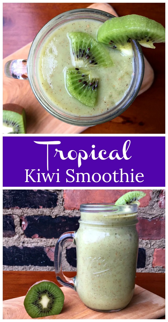 This tasty and tantalizing tropical green smoothie, made with kiwi and pineapple, will tickle your taste buds and make your mouth sing.