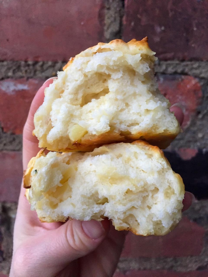 The addition of apples, cheddar and sage elevates the humble drop biscuit to something delightful and drool worthy.