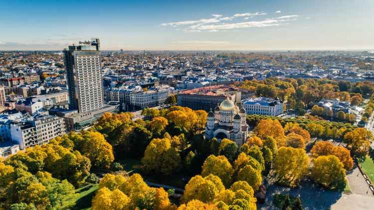 aerial view of park in riga