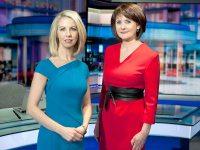 PICTURED: RTÉ News set and presenters (2018). Presenters: Caitríona Perry and Keelin Shanley.