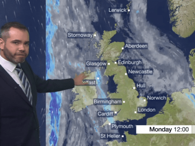 PICTURED: Ben Rich presenting a BBC Weather bulletin.