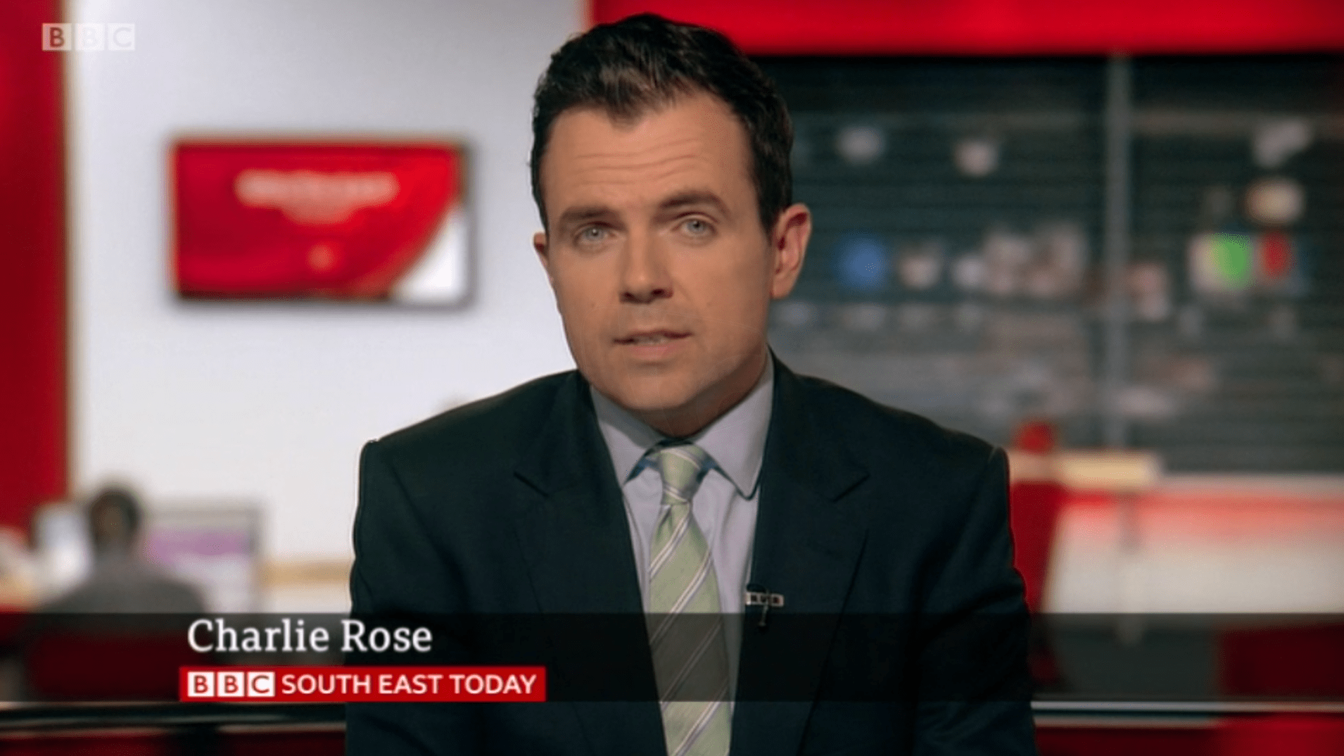 PICTURED: BBC South East Today studio presentation and lower-third. Presenter: Charlie Rose.