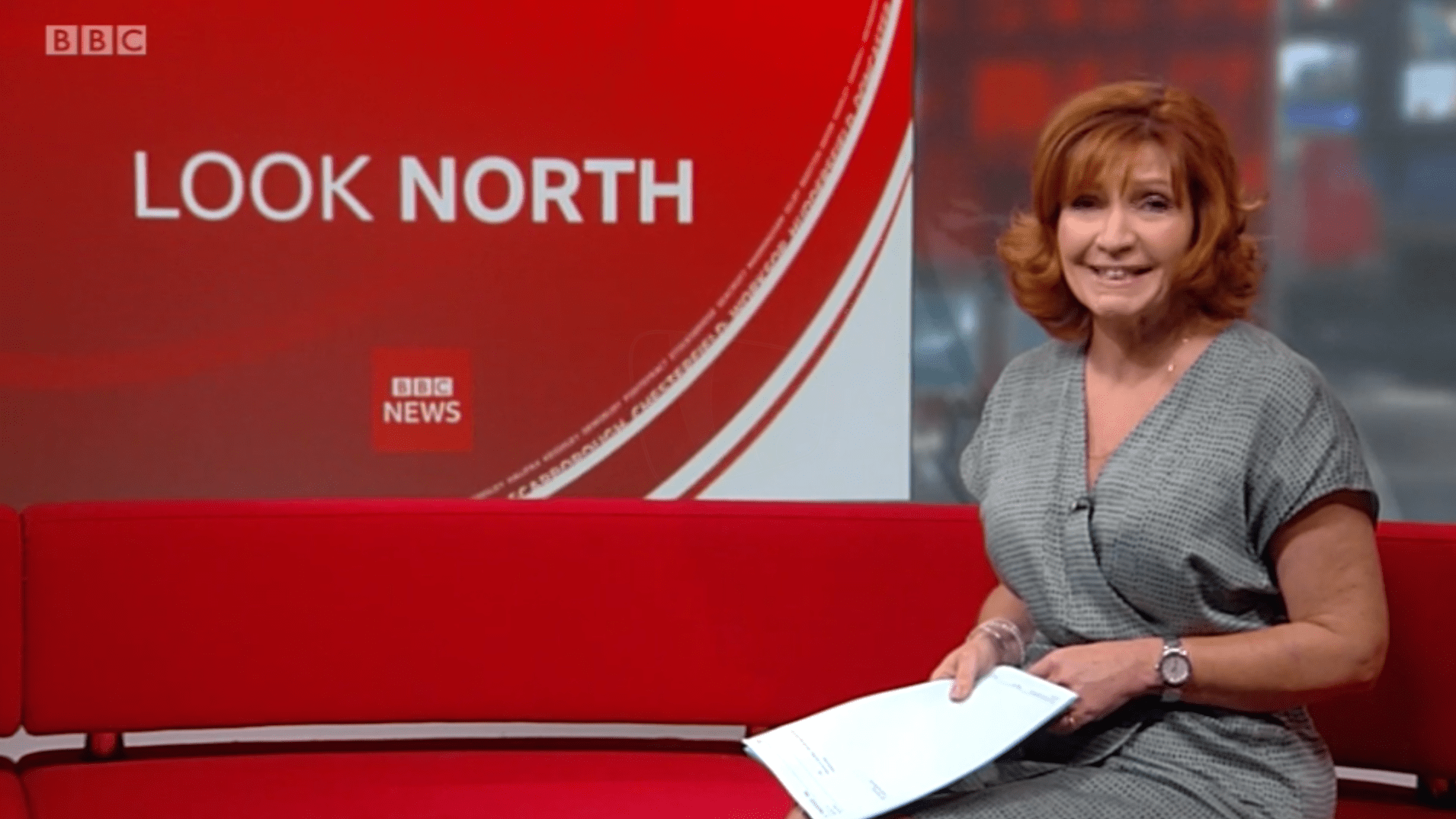 PICTURED: BBC Look North studio presentation. Presenter: Clare Frisby.