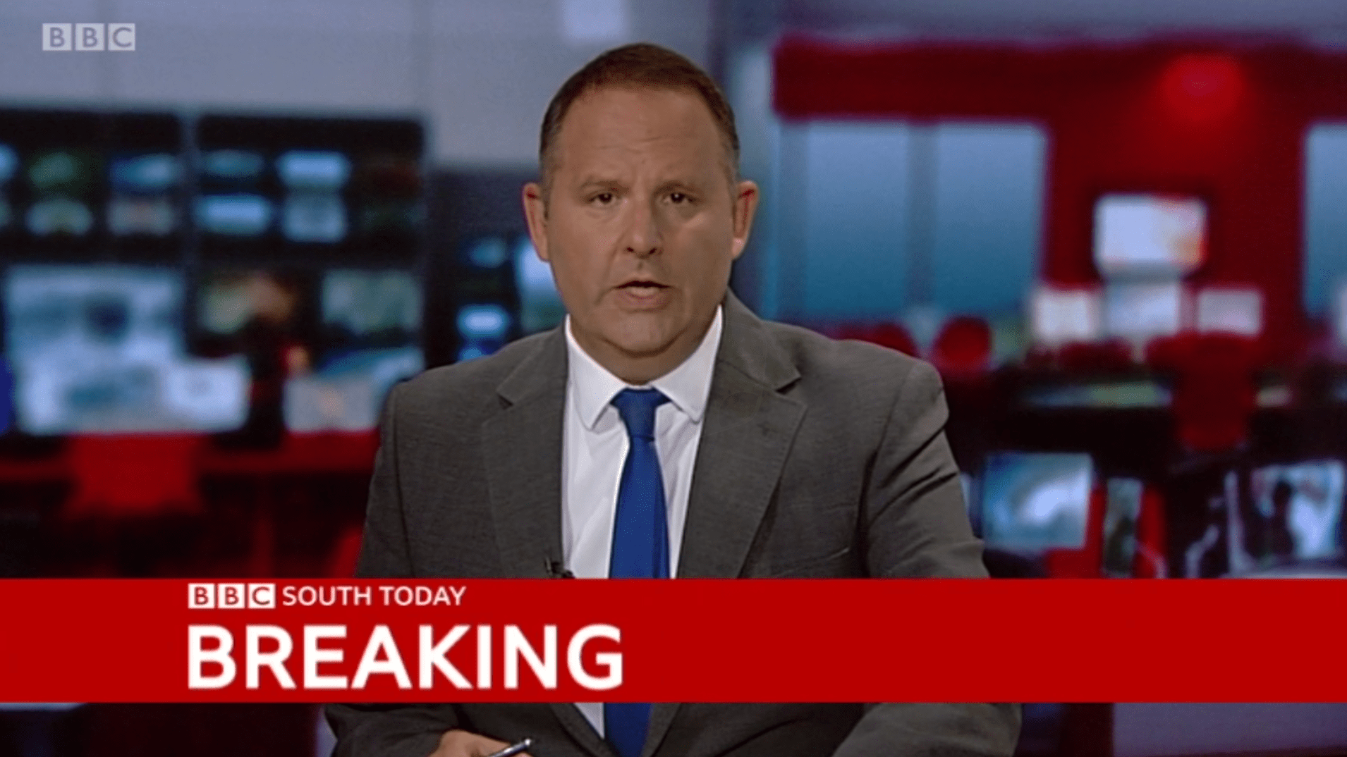 PICTURED: BBC South Today (Oxford) lower-third and studio presentation. Presenter: Jerome Sale.