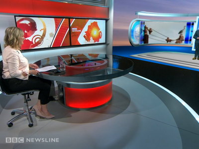 PICTURED: BBC Newsline set. Presenters: Tara Mills and Barra Best.
