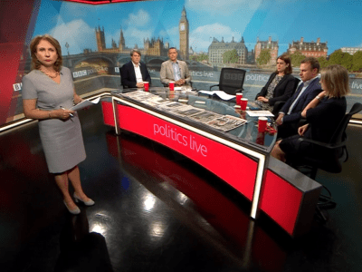 PICTURED: presenter Jo Coburn introducing an edition of Politics Live on BBC Two.