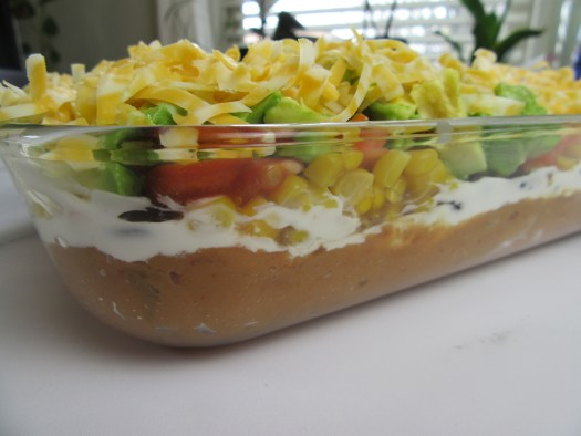 Side view of 7-layer bean dip.