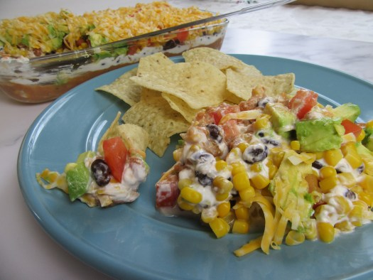 My favorite 7-layer bean dip! Jonny's 7-Layer Bean Dip.