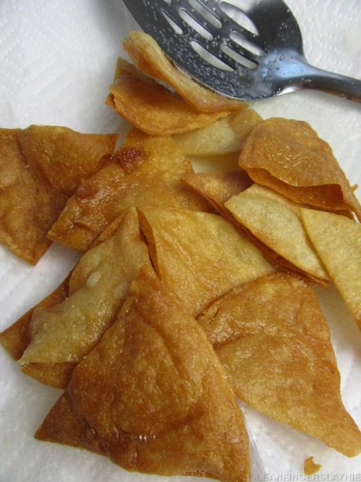 Fried Tortilla Chips for Italian Nachos