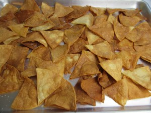 Tortilla Chips on a Half-Sized Baking Sheet for Italian Nachos