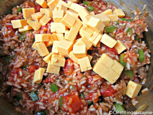 Dad's Beef Spanish Rice with Cubed Cheese