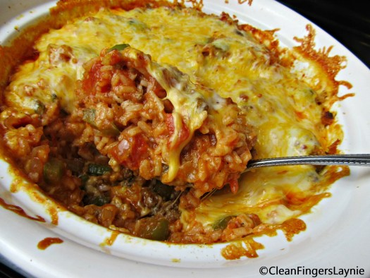 Dad's Beef Spanish Rice with Melty Cheese