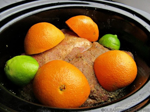 Spiced Pork Shoulder Topped with Oranges and Limes