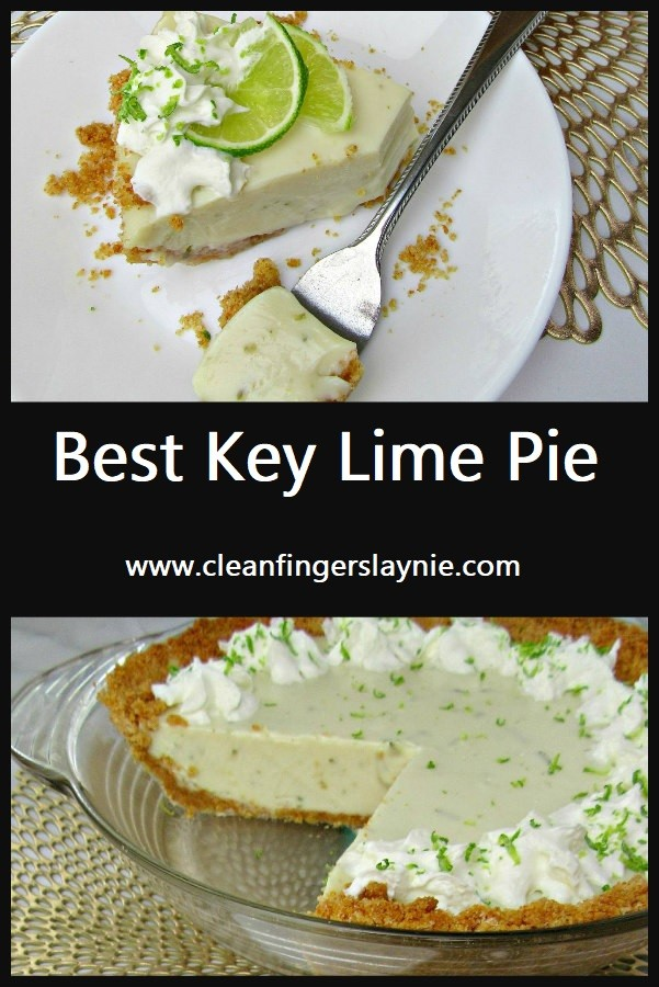 Best Key Lime Pie - Clean Fingers Laynie - Learn to make the best key lime pie with a buttery graham cracker crust, a tangy and creamy key lime filling, and a perfectly fluffy whipped cream topping!