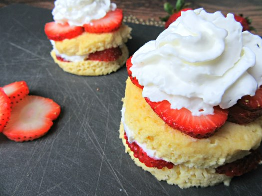 Microwavable Low-Carb Strawberry Shortcake Close Up