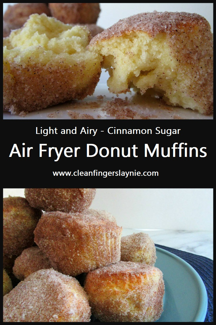 Air Fryer Cinnamon Sugar Donut Muffins - Clean Fingers Laynie
