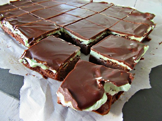 Best Frosted Mint Brownies Flat Lay