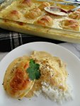 Cheesy Chicken Crescent Roll Bake Pan and Plate