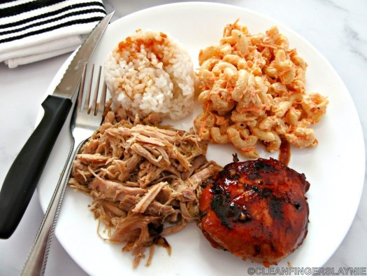Hawaiian Mixed Plate - Rice, Hawaiian Macaroni Salad, Teriyaki Chicken Thigh, Kalua Pork