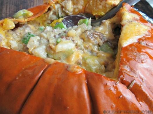 Dinner in a Pumpkin (Pumpkin Casserole) Close Up